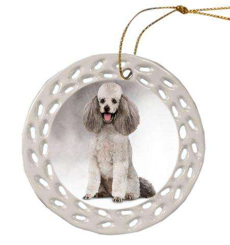 Poodle Dog Christmas Doily Ceramic Ornament