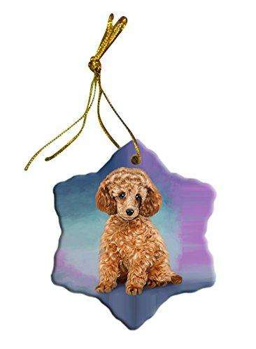 Poodle Dog Christmas Snowflake Ceramic Ornament