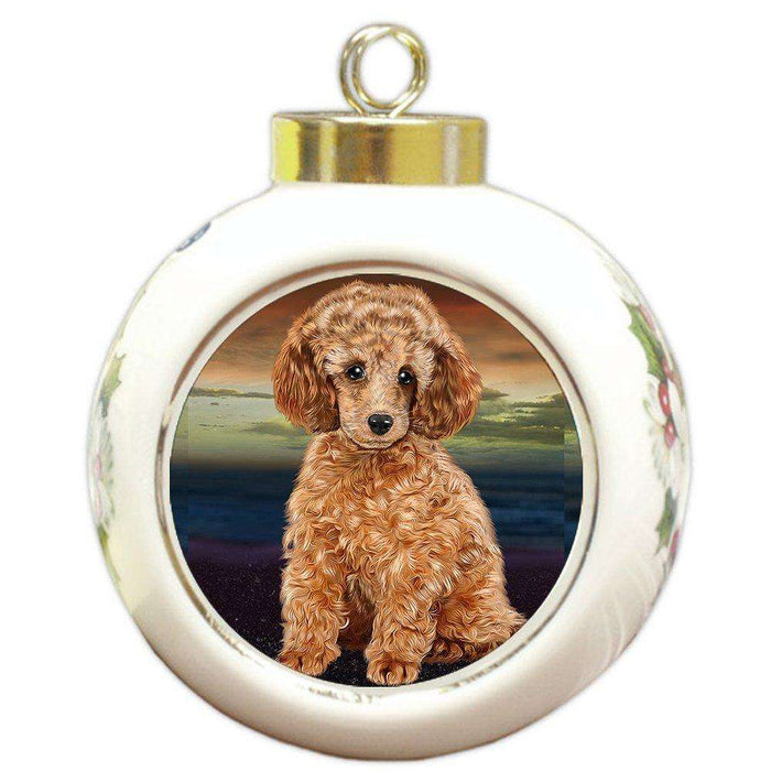 Poodle Dog Round Ball Christmas Ornament