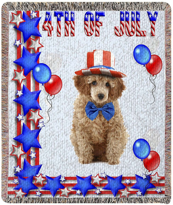 Poodle Patriotic Woven Throw Blanket 54 x 38