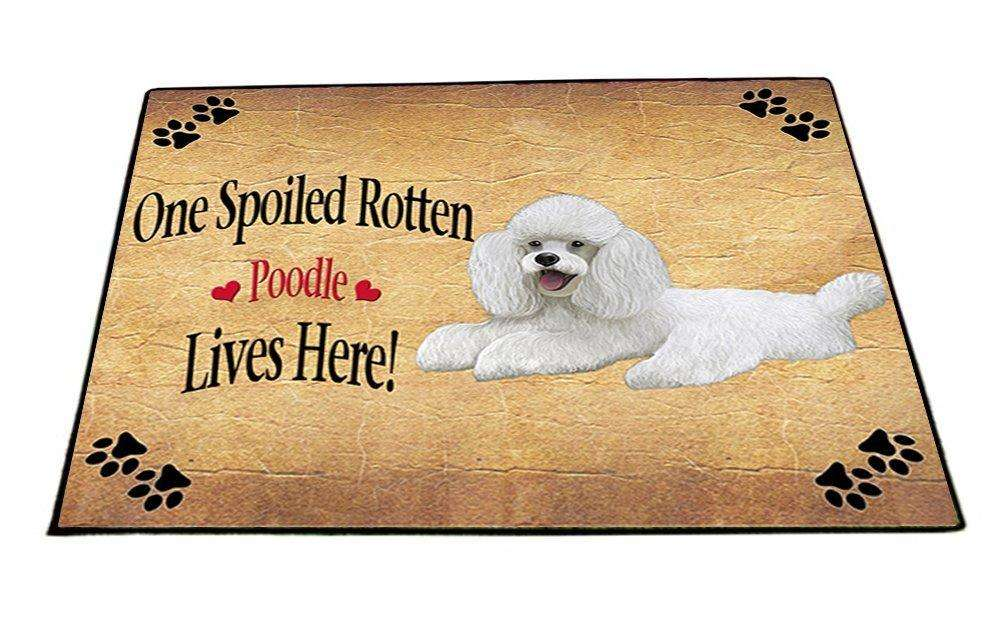 Poodle White Spoiled Rotten Dog Indoor/Outdoor Floormat