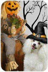 Poodle White Tempered Cutting Board Halloween