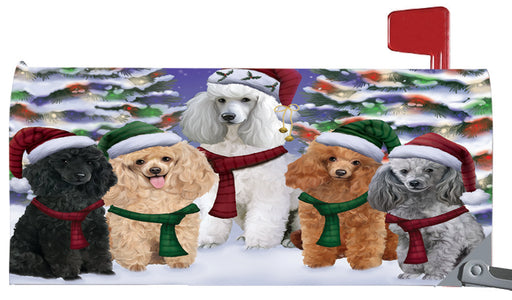 Magnetic Mailbox Cover Poodles Dog Christmas Family Portrait in Holiday Scenic Background MBC48243