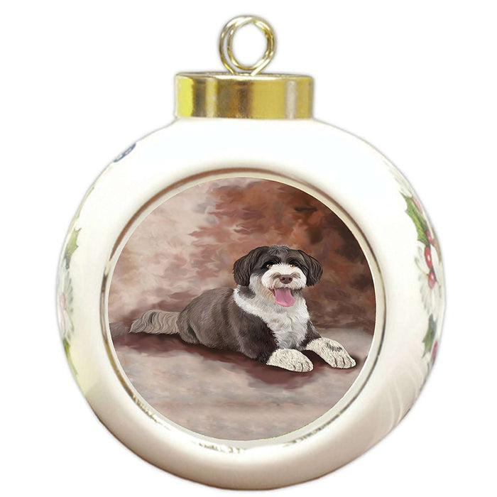 Portuguese Water Dog Round Ball Christmas Ornament