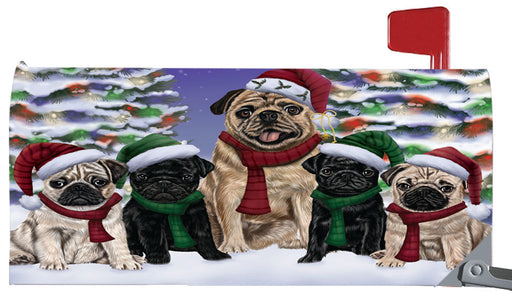 Magnetic Mailbox Cover Pugs Dog Christmas Family Portrait in Holiday Scenic Background MBC48244