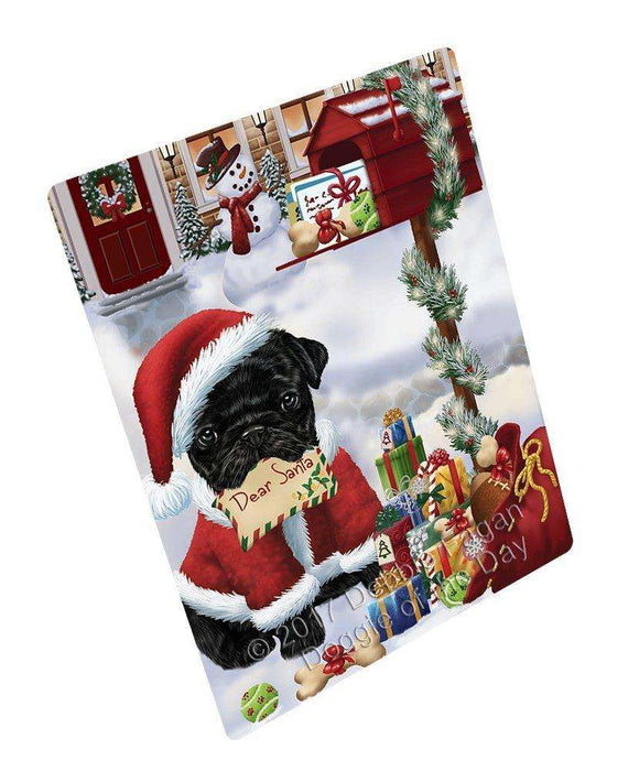 Pug Dear Santa Letter Christmas Holiday Mailbox Dog Art Portrait Print Woven Throw Sherpa Plush Fleece Blanket