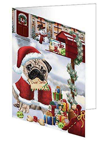 Pug Dear Santa Letter Christmas Holiday Mailbox Dog Greeting Card