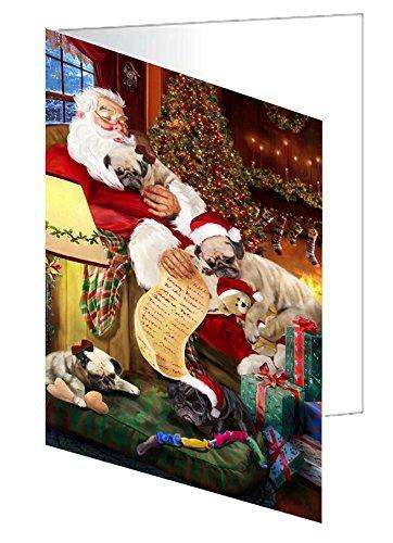 Pug Dog and Puppies Sleeping with Santa Greeting Card