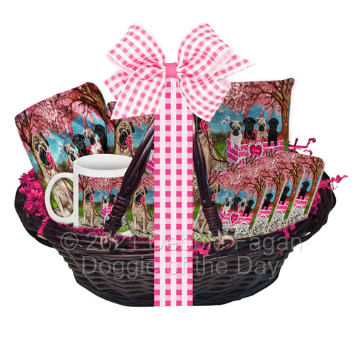 Mother's Day Gift Basket Pug Dogs Blanket, Pillow, Coasters, Magnet, Coffee Mug and Ornament