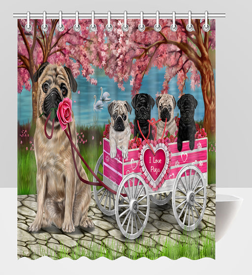 I Love Pug Dogs in a Cart Shower Curtain