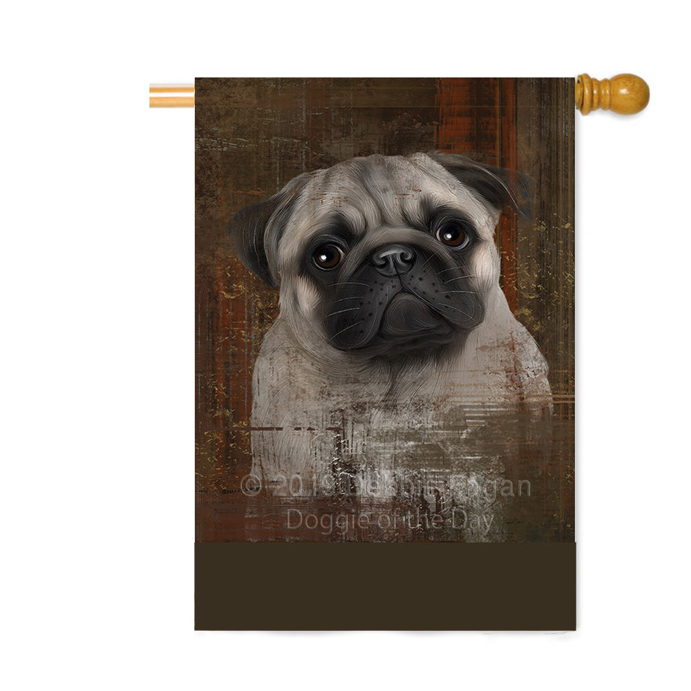 Personalized Rustic Pug Dog Custom House Flag FLG64674