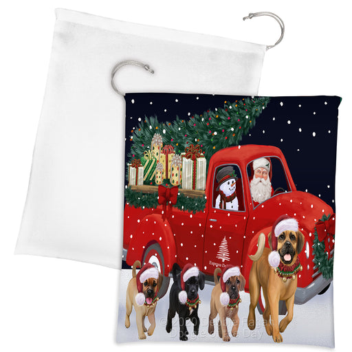 Christmas Express Delivery Red Truck Running Puggle Dogs Drawstring Laundry or Gift Bag LGB48923
