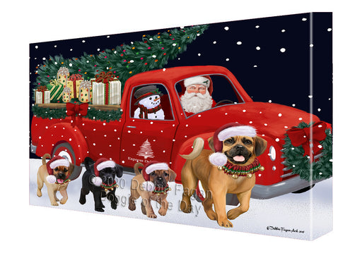Christmas Express Delivery Red Truck Running Puggle Dogs Canvas Print Wall Art Décor CVS146285