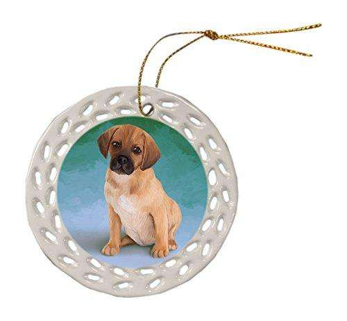 Puggle Puppy Ceramic Doily Ornament DPOR48064