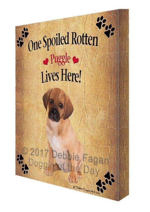 Puggle Puppy Spoiled Rotten Dog Canvas Wall Art D559
