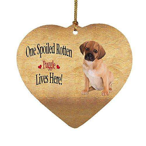 Puggle Puppy Spoiled Rotten Dog Heart Christmas Ornament