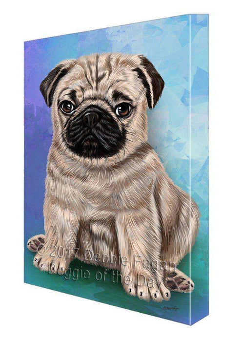 Pugs Puppy Dog Painting Printed on Canvas Wall Art Signed