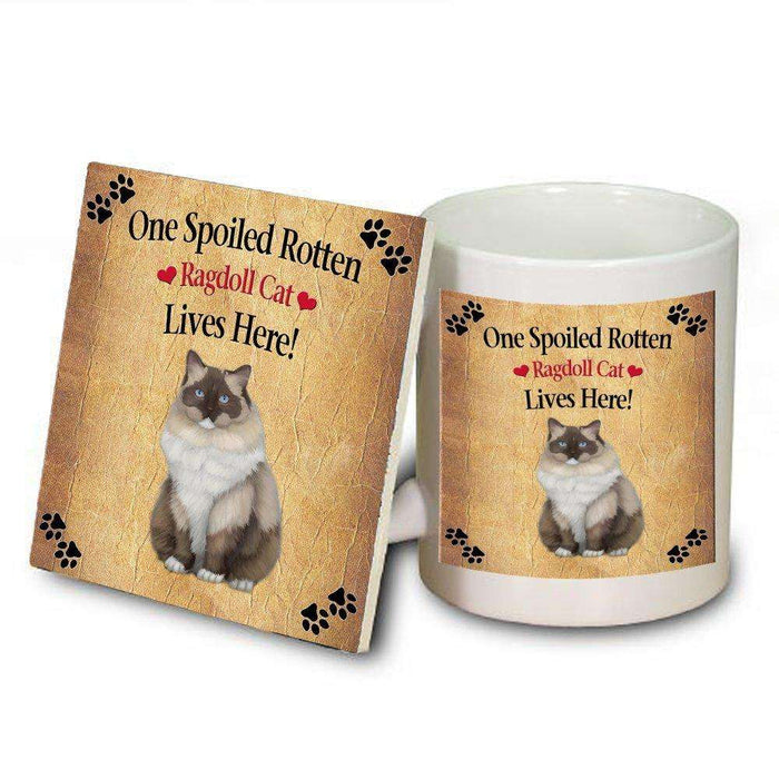 Ragdoll Spoiled Rotten Cat Mug and Coaster Set