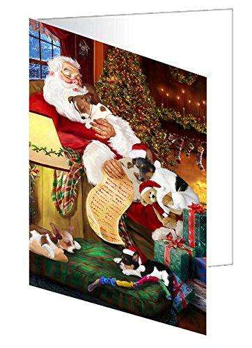 Rat Terrier Dog and Puppies Sleeping with Santa Note Card
