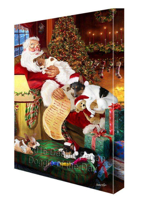 Rat Terrier Dog and Puppies Sleeping with Santa Painting Printed on Canvas Wall Art Signed
