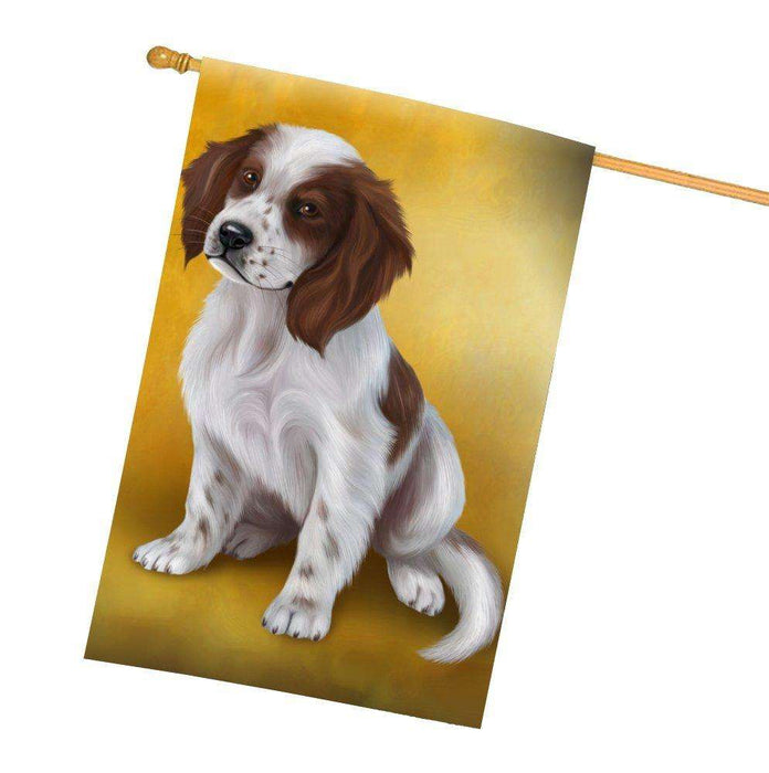 Red And White Irish Setter Puppy Dog All Weather House Flag