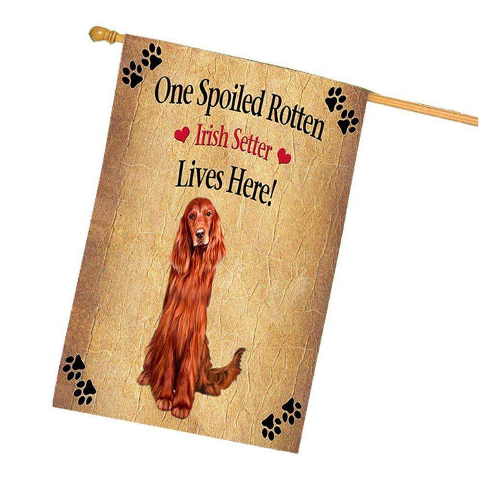 Red Irish Setter Spoiled Rotten Dog House Flag
