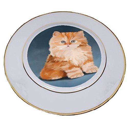 Red Persian Kitten Cat Porcelain Plate