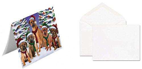 Rhodesian Ridgebacks Dog Christmas Family Portrait in Holiday Scenic Background Greeting Card
