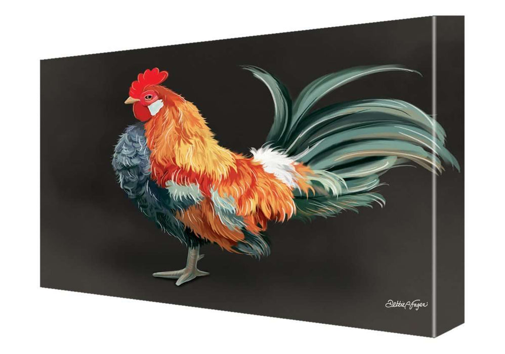 Rooster Painting Printed on Canvas Wall Art Signed