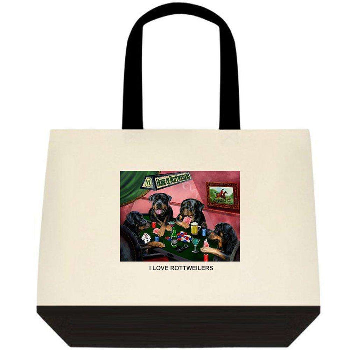 Rottweiler 4 Dogs Playing Poker Two-Tone Deluxe Classic Cotton Tote Bags