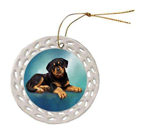 Rottweiler Dog Christmas Doily Ceramic Ornament