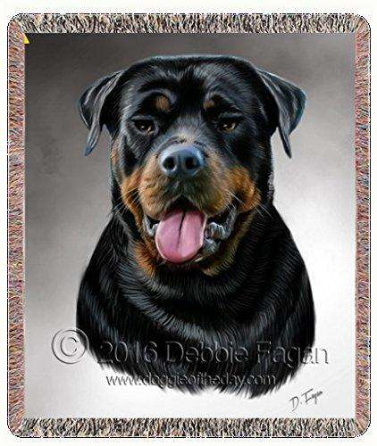 Rottweiler Dog Dog Art Portrait Print Woven Throw Blanket 54 X 38