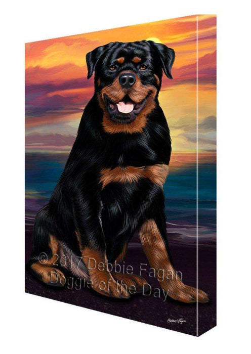 Rottweiler Dog Painting Printed on Canvas Wall Art Signed