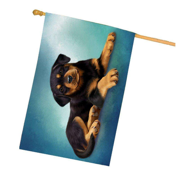 Rottweiler Puppy Dog House Flag