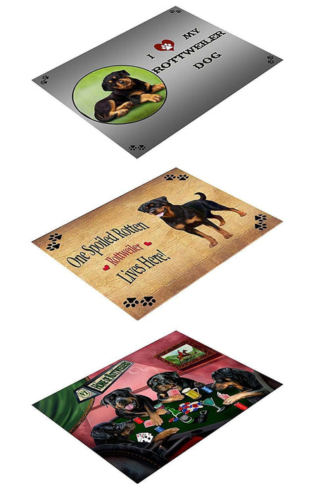 Rottweiler Set of 3 Magnets Spoiled Rotten, Poker Dogs and I Love My Dog