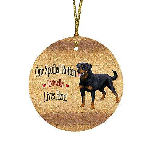 Rottweiler Spoiled Rotten Dog Round Christmas Ornament