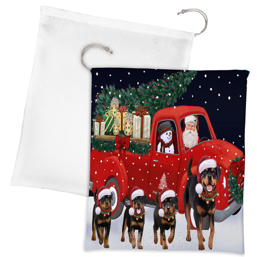 Christmas Express Delivery Red Truck Running Rottweiler Dogs Drawstring Laundry or Gift Bag LGB48925