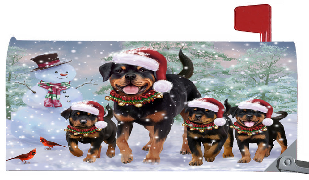 Magnetic Mailbox Cover Christmas Running Family Rottweilers Dogs MBC48274