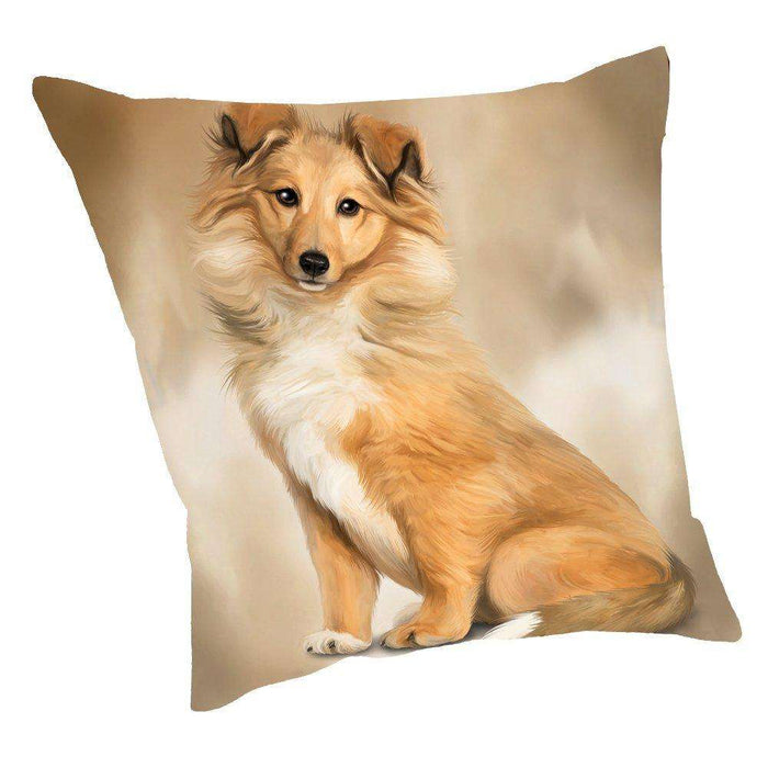 Rough Collie Dog Throw Pillow D047