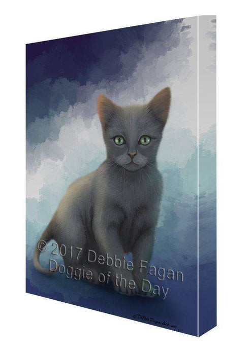 Russian Blue Cat Canvas Wall Art D090