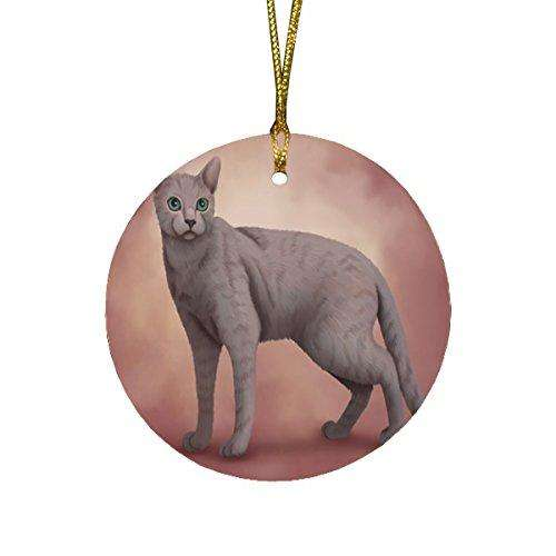Russian Blue Cat Round Christmas Ornament