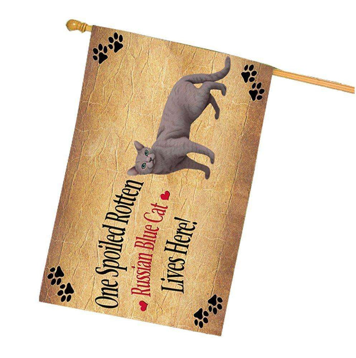 Russian Blue Spoiled Rotten Cat House Flag