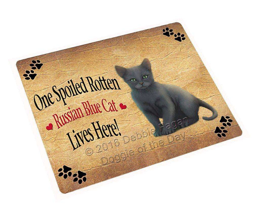 "Russian Blue Spoiled Rotten Cat Magnet Mini (3.5"" x 2"")"