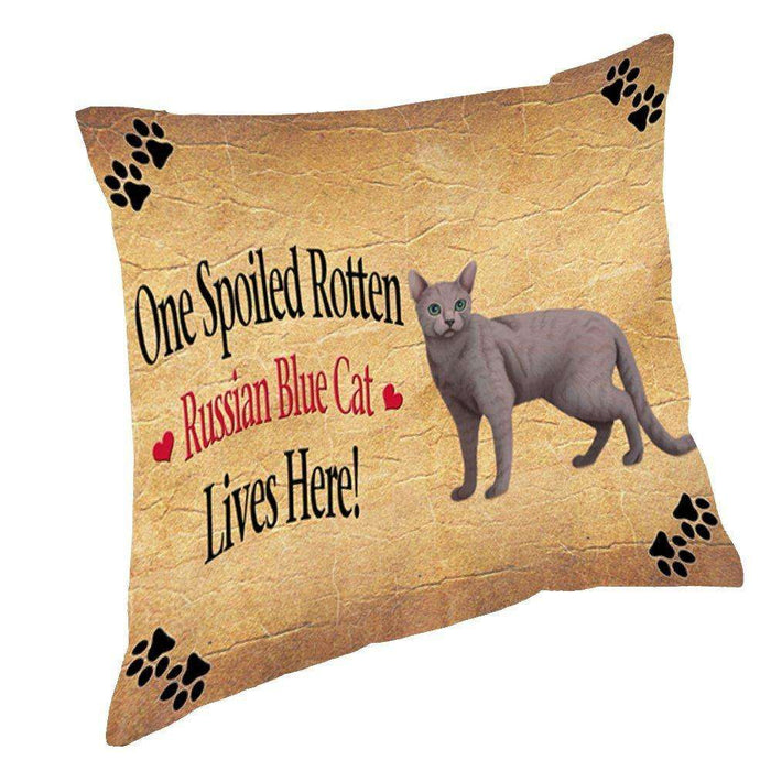 Russian Blue Spoiled Rotten Cat Throw Pillow