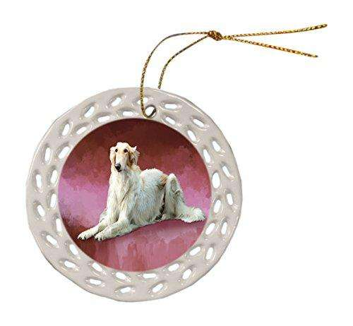 Russian Borzoi Greyhound Dog Ceramic Doily Ornament DPOR48091