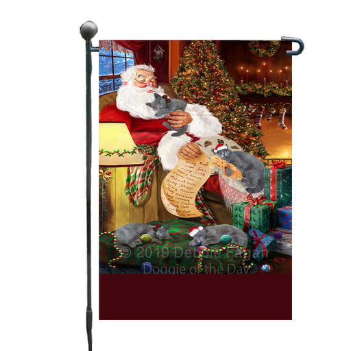 Personalized Russian Blue Cats and Kittens Sleeping with Santa Custom Garden Flags GFLG-DOTD-A62661