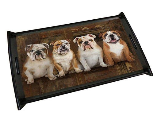 Rustic 4 Bulldogs Wood Serving Tray TRP48065