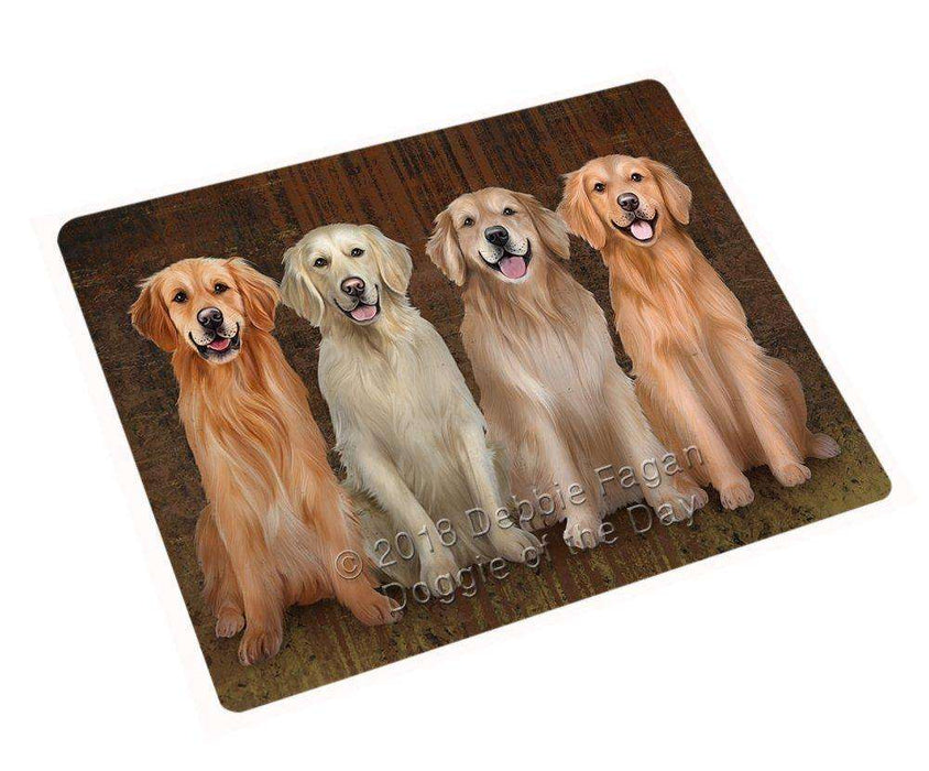 "Rustic 4 Golden Retrievers Dog Magnet Mini (3.5"" x 2"") MAG48744"