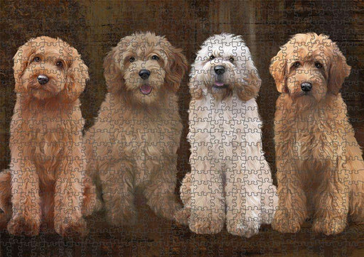 Rustic 4 Goldendoodles Dog Puzzle with Photo Tin PUZL84596