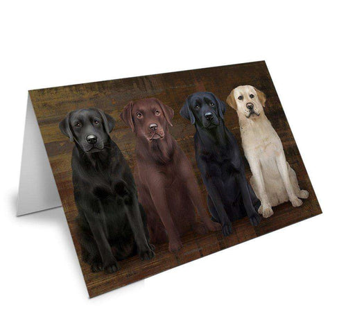 Rustic 4 Labrador Retrievers Dog Greeting Card GCD48725